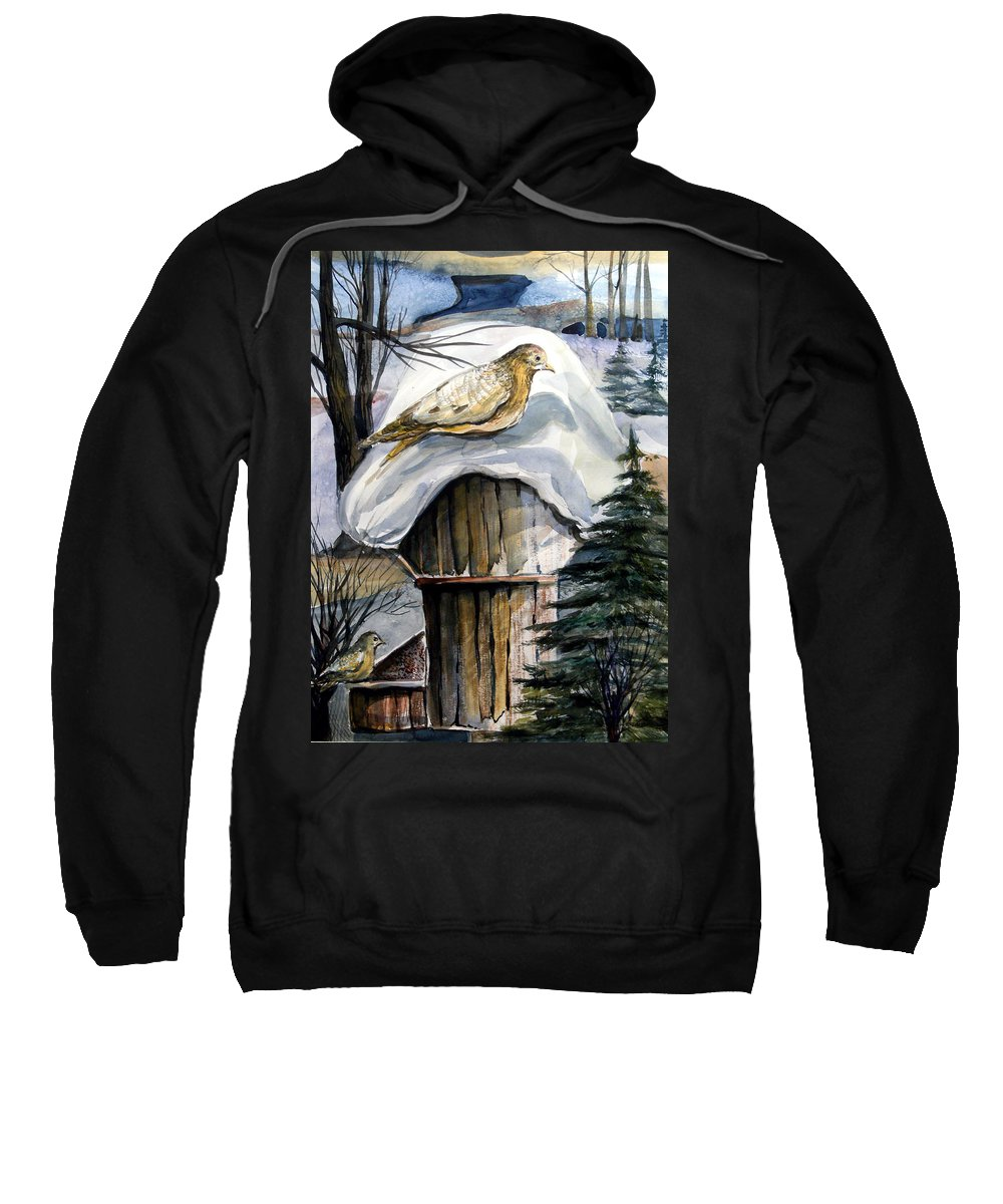 Bird Sweatshirt featuring the painting His Eye Is On The Sparrow by Mindy Newman