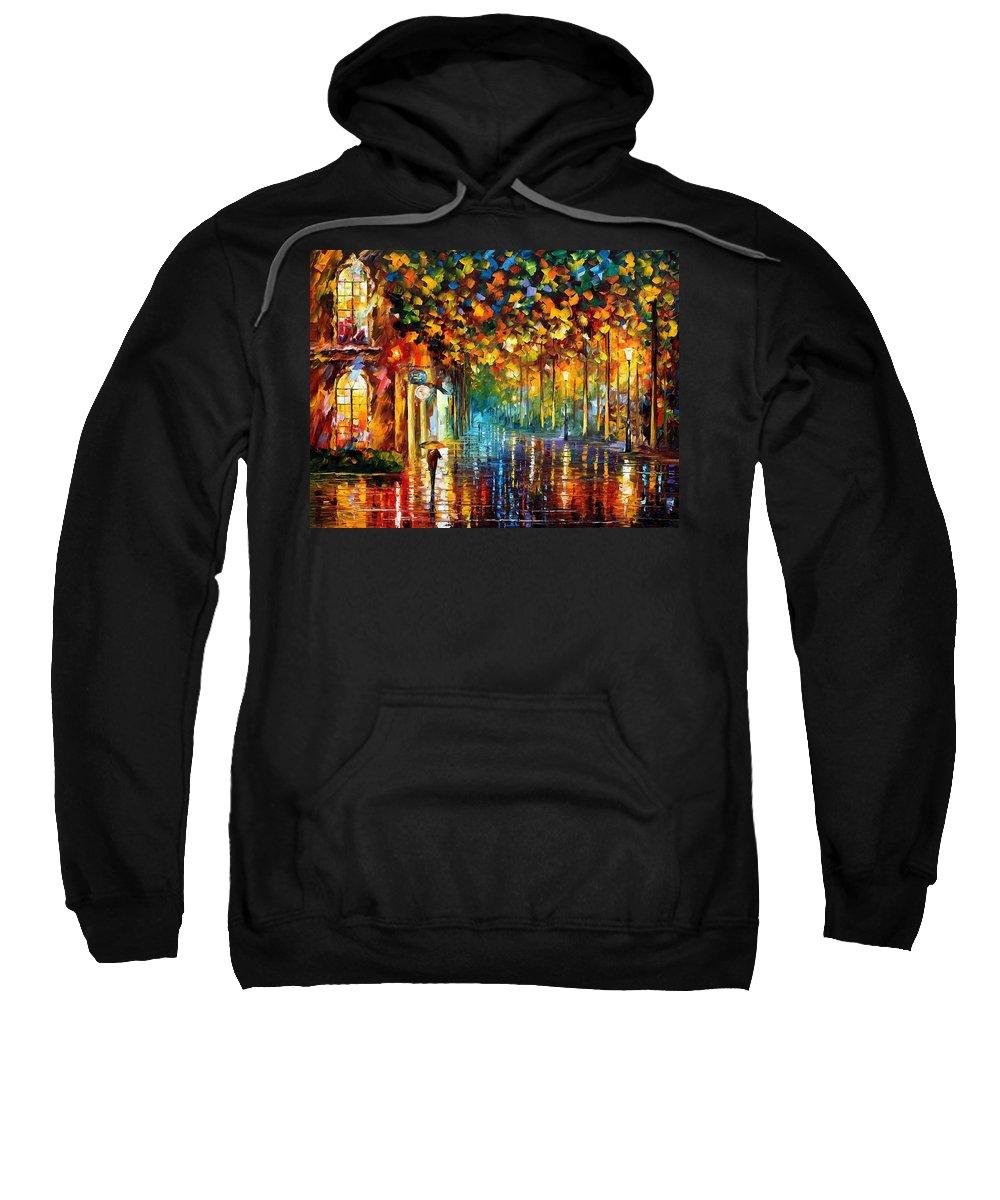 Afremov Sweatshirt featuring the painting Late Stroll by Leonid Afremov