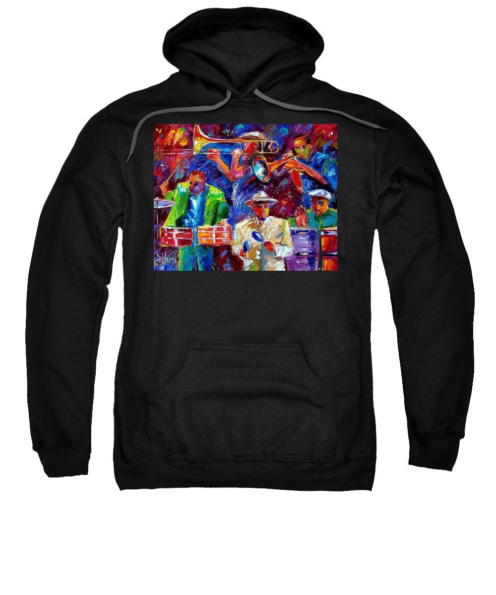 Jazz Art Sweatshirt featuring the painting Latin Jazz by Debra Hurd