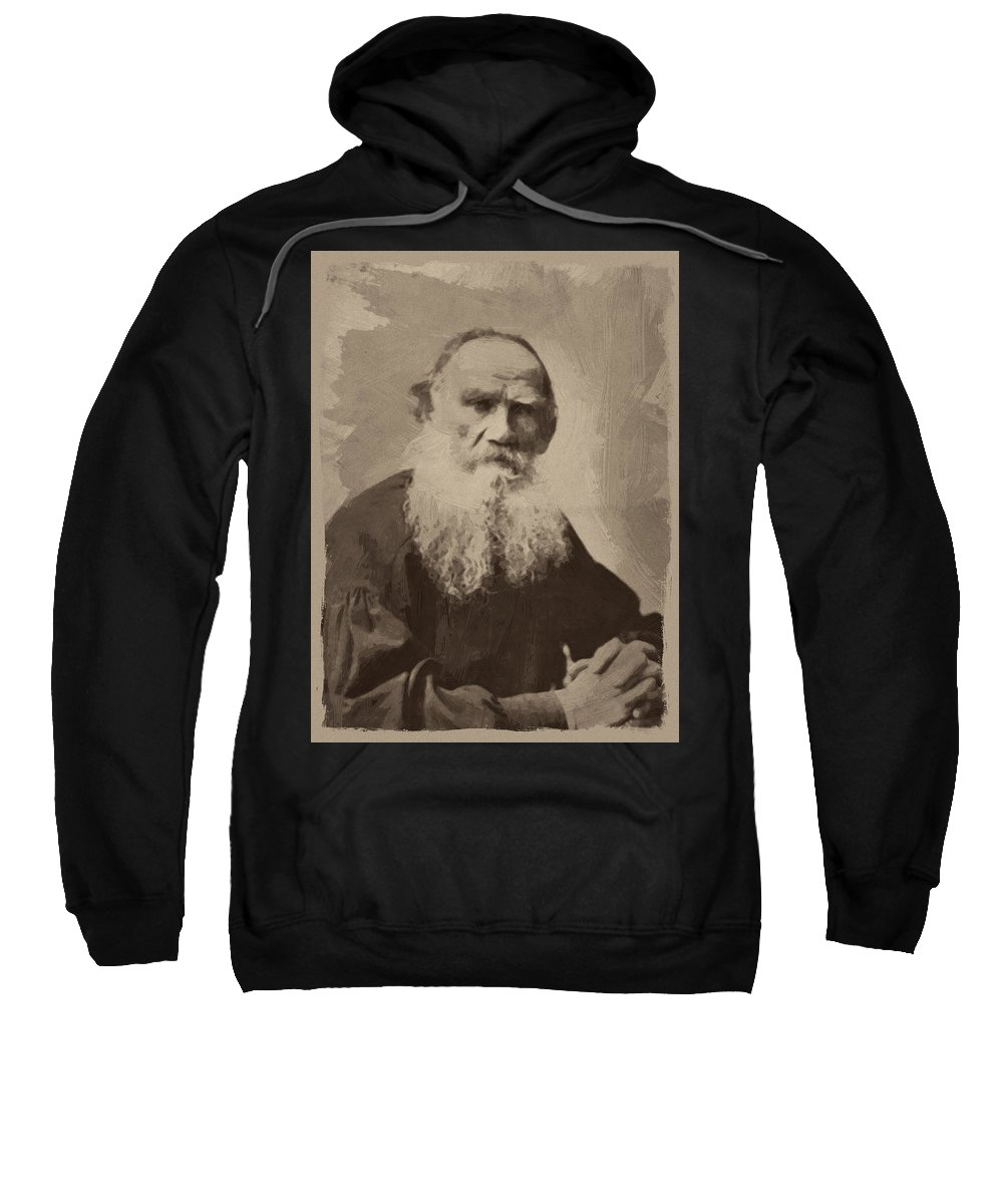 Leo Tolstoy Sweatshirt featuring the painting Leo Tolstoy by Afterdarkness