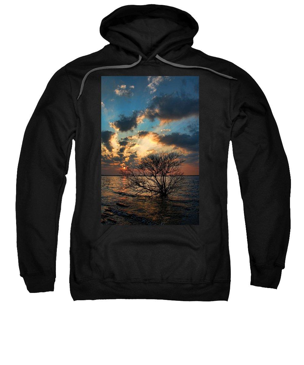 Sunset Sweatshirt featuring the photograph Light Show by Carolyn Fletcher