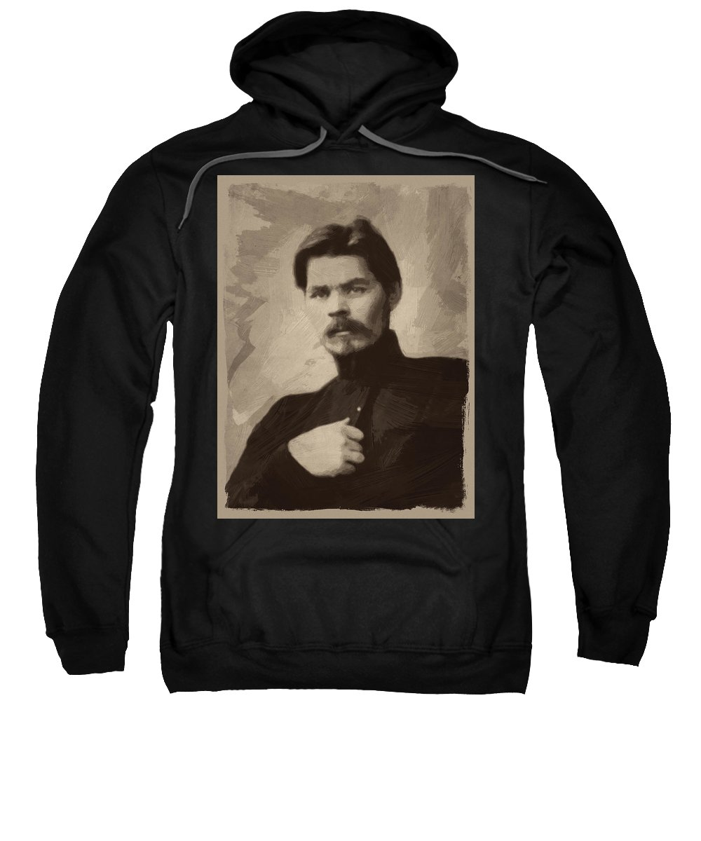 Maxim Gorky Sweatshirt featuring the painting Maxim Gorky by Afterdarkness