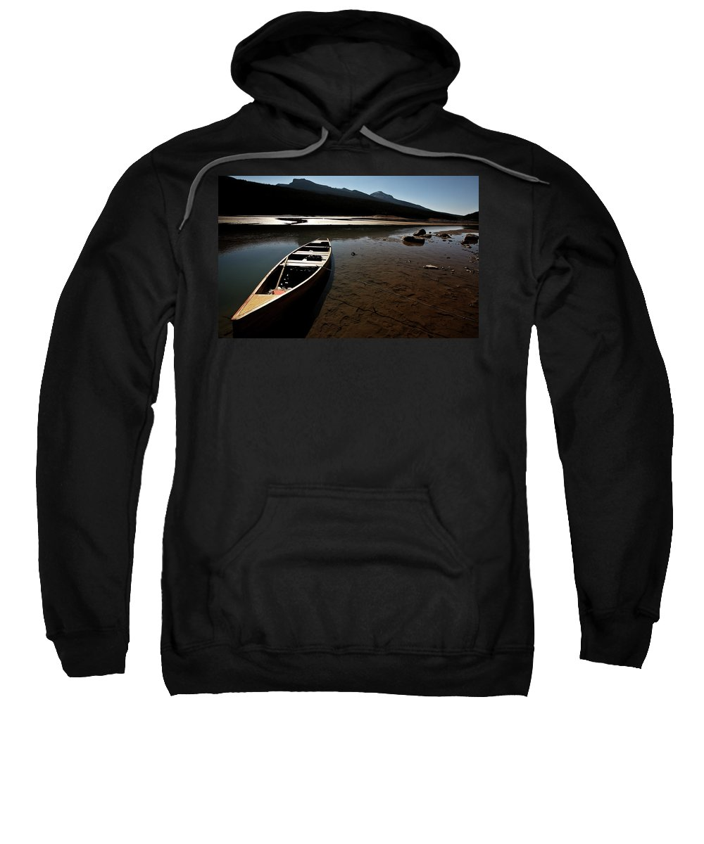 Medicine Lake Sweatshirt featuring the digital art Medicine Lake In Jasper National Park by Mark Duffy