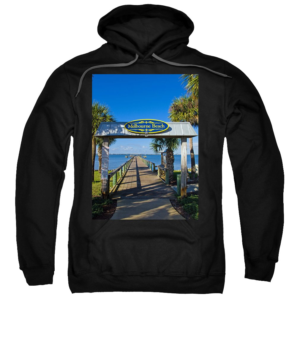 Florida; Melbourne; Beach; Atlantic; Coast; East; Space; Pier; Pineapples; Steamboat; Load; Cargo; I Sweatshirt featuring the photograph Melbourne Beach Florida by Allan Hughes