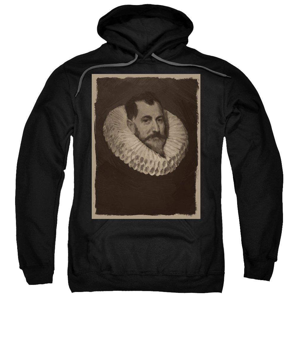 Miguel De Cervantes Sweatshirt featuring the painting Miguel De Cervantes by Afterdarkness
