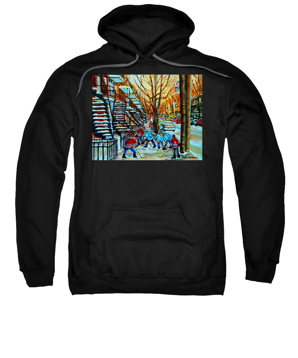 Hockey Sweatshirt featuring the painting Montreal Hockey Paintings by Carole Spandau