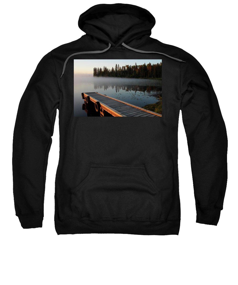 Mist Sweatshirt featuring the digital art Morning Mist Over Lynx Lake In Northern Saskatchewan by Mark Duffy