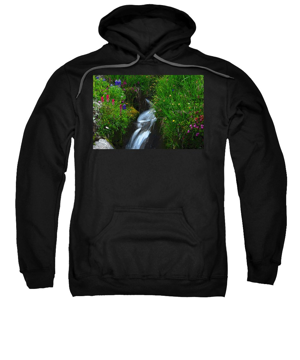 Art Sweatshirt featuring the painting Mountain Stream by David Lee Thompson