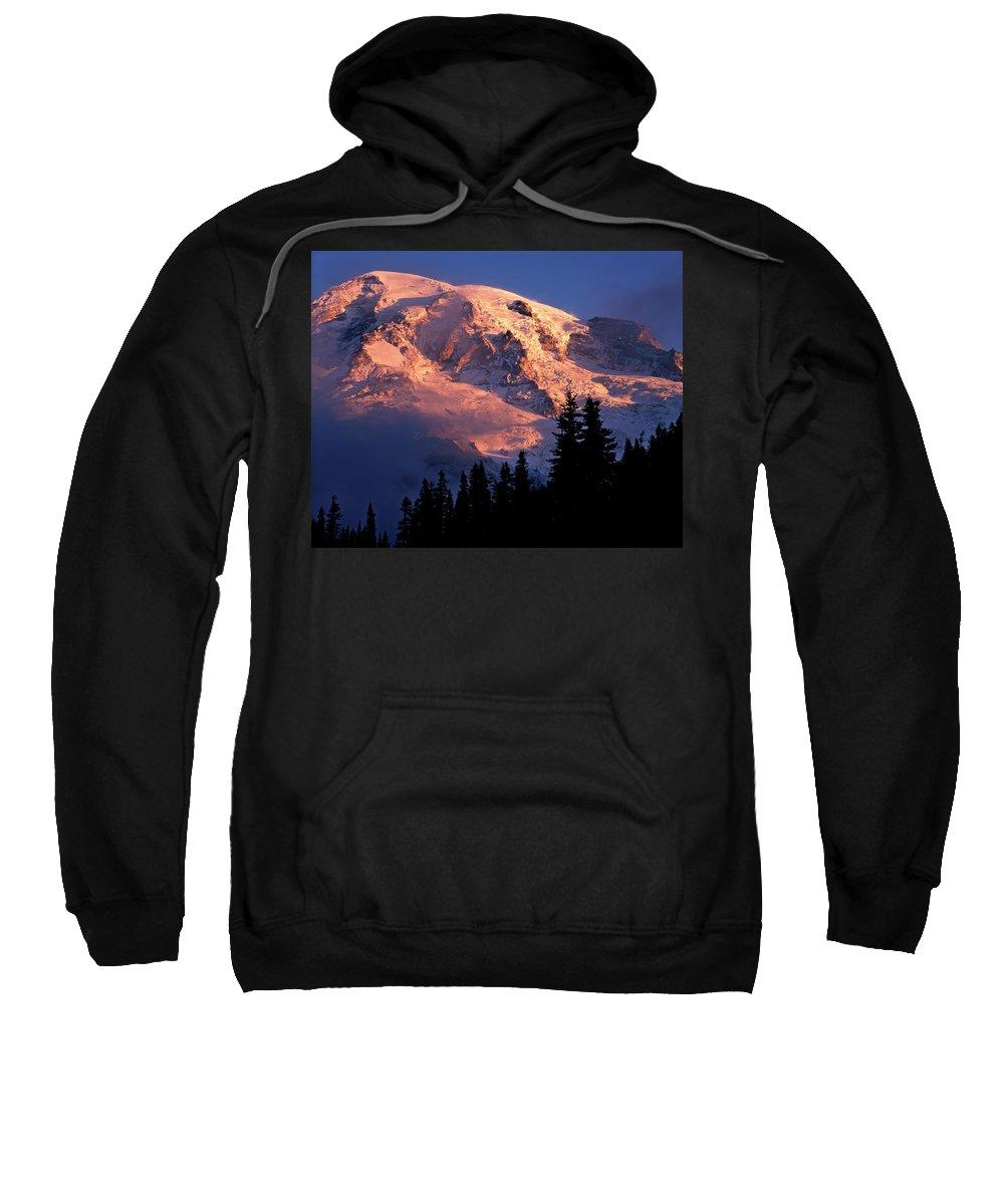 Mt. Rainier Mountain Landscape Dawn Mt. Rainier National Park Mount Rainier Mount Rainier National Park Sweatshirt featuring the photograph Mt. Rainier Dawn And Clouds by Tim Rayburn