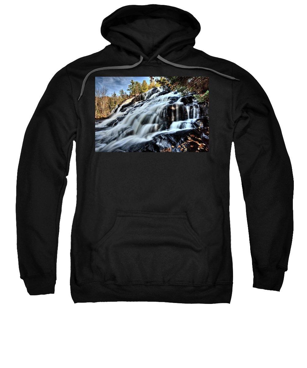 Waterfall Sweatshirt featuring the digital art Northern Michigan Up Waterfalls Bond Falls by Mark Duffy