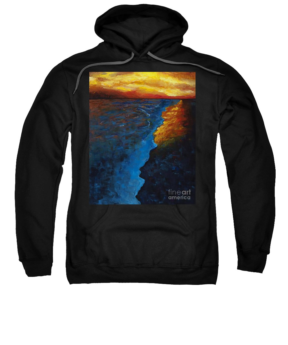 Abstract Ocean Sweatshirt featuring the painting Ocean Sunset by Frances Marino
