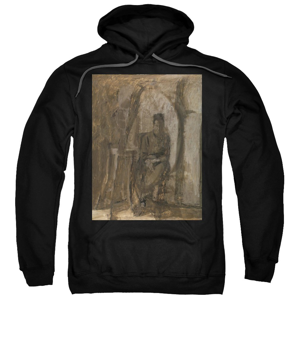 Portrait Sweatshirt featuring the painting Old Woman by Robert Nizamov