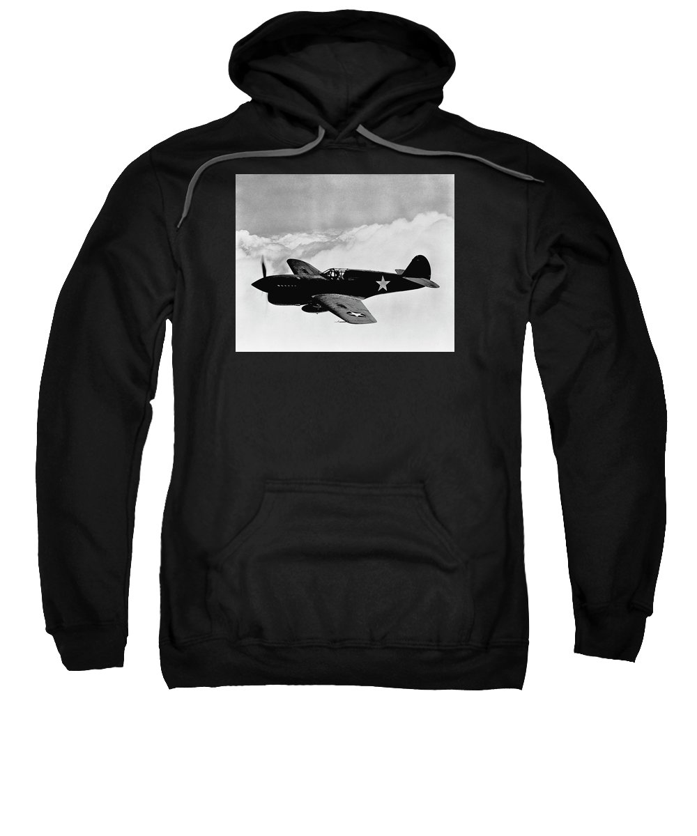 Ww2 Sweatshirt featuring the photograph P-40 Warhawk by War Is Hell Store