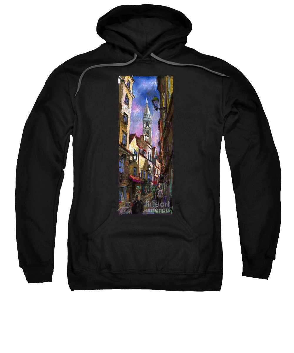 Pastel Sweatshirt featuring the painting Paris Montmartre by Yuriy Shevchuk