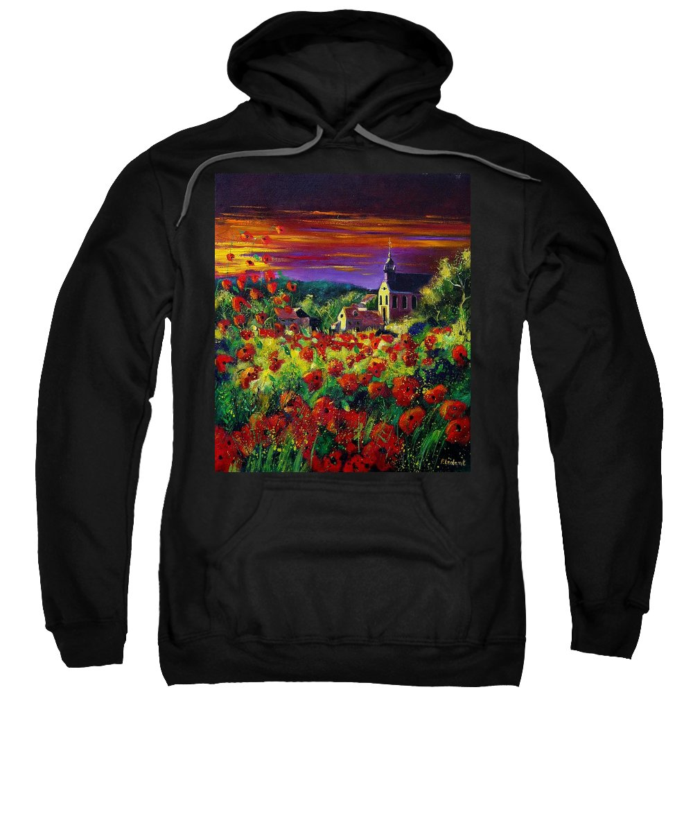 Flowers Sweatshirt featuring the painting Poppies In Foy by Pol Ledent