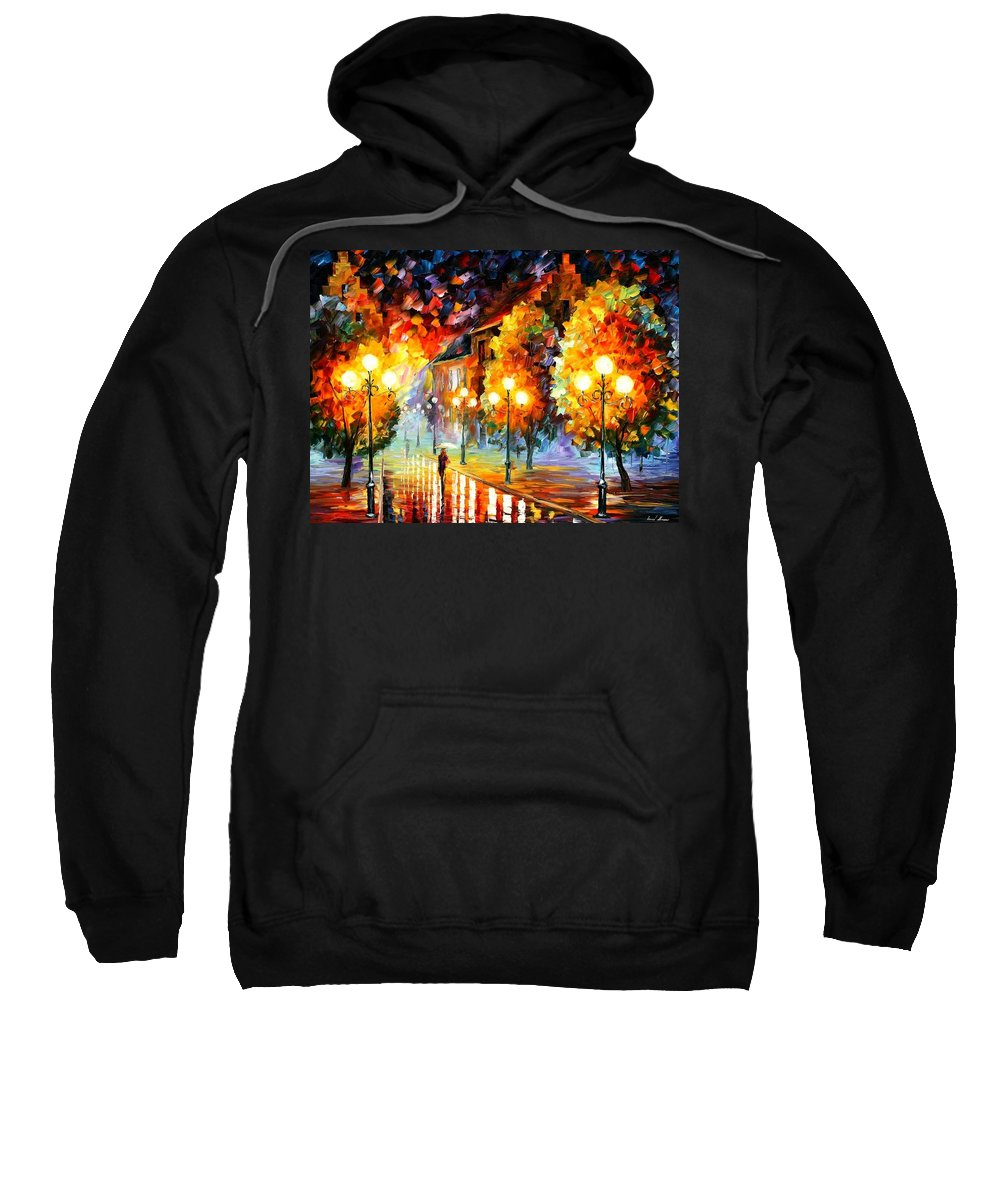 Afremov Sweatshirt featuring the painting Rain In The Night City by Leonid Afremov