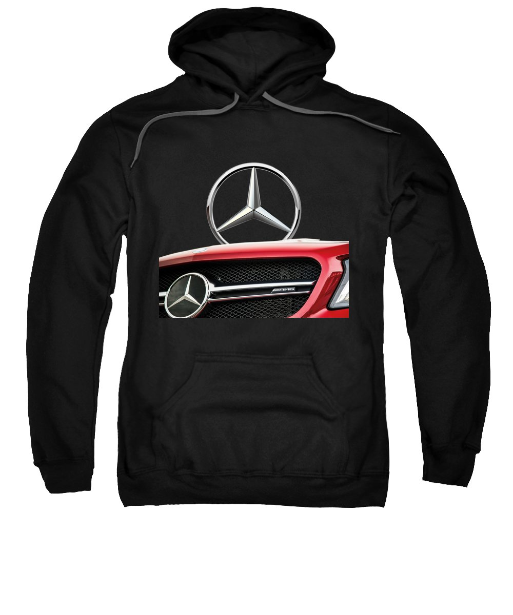 'auto Badges' By Serge Averbukh Sweatshirt featuring the photograph Red Mercedes - Front Grill Ornament And 3 D Badge On Black by Serge Averbukh