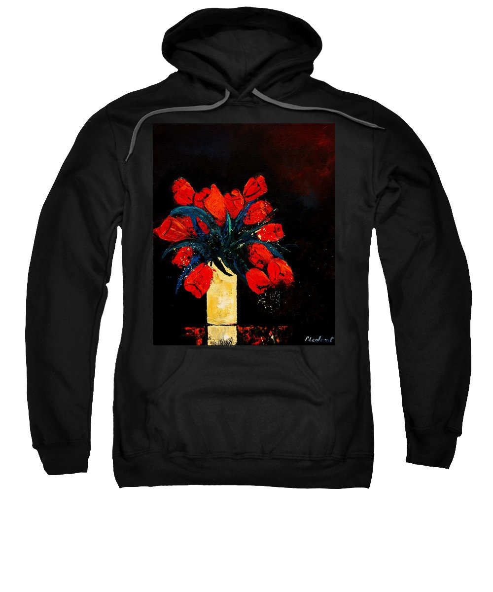 Flowers Sweatshirt featuring the painting Red Tulips by Pol Ledent