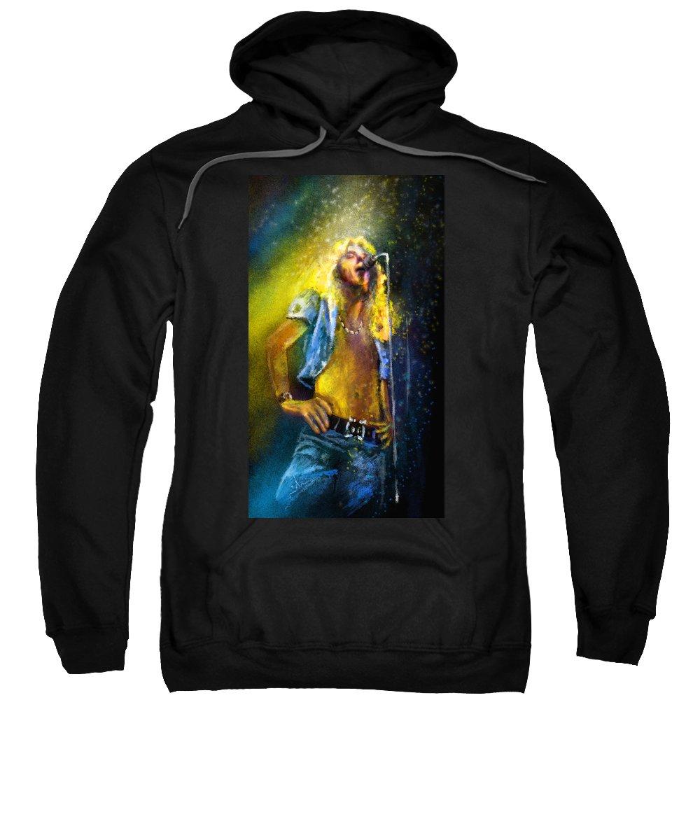 Music Sweatshirt featuring the painting Robert Plant 01 by Miki De Goodaboom