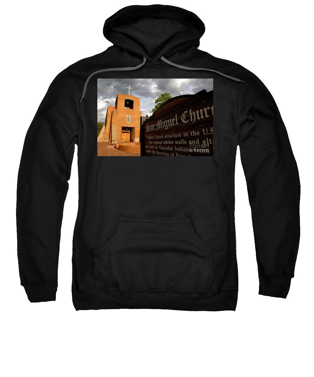 San Miguel Mission Church New Mexico Sweatshirt featuring the photograph San Miguel Mission Church by David Lee Thompson