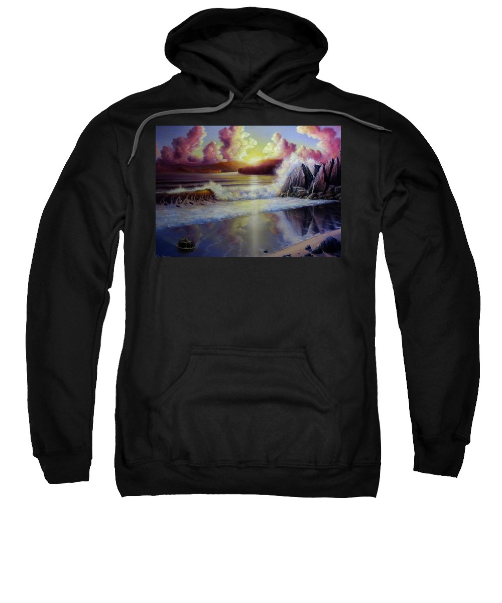 Sunset Seascape Sweatshirt featuring the painting Seascape Sunset by John Cocoris