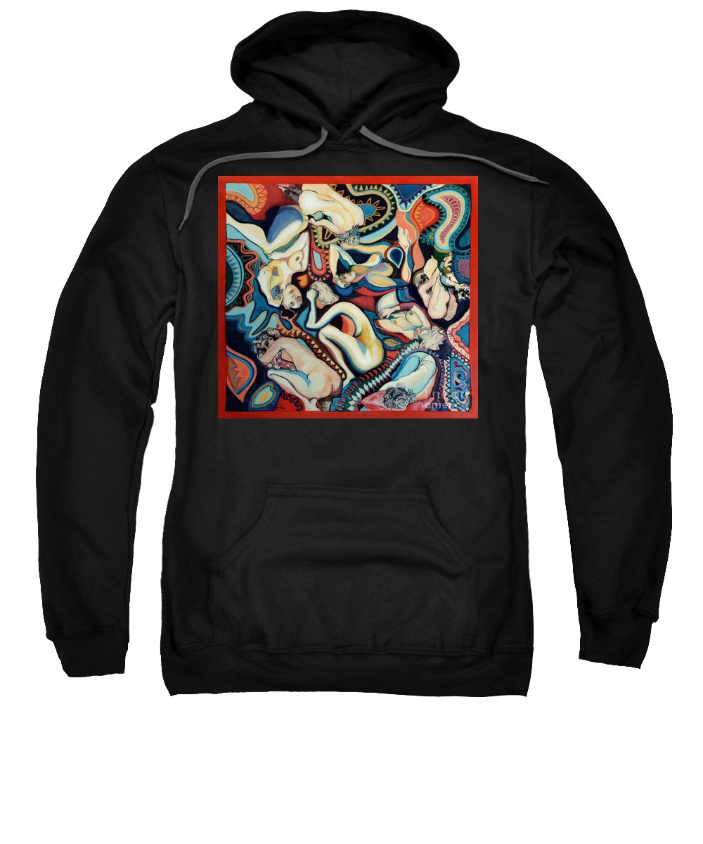 Painting Sweatshirt featuring the painting Secret Thoughts by Kerryn Madsen- Pietsch