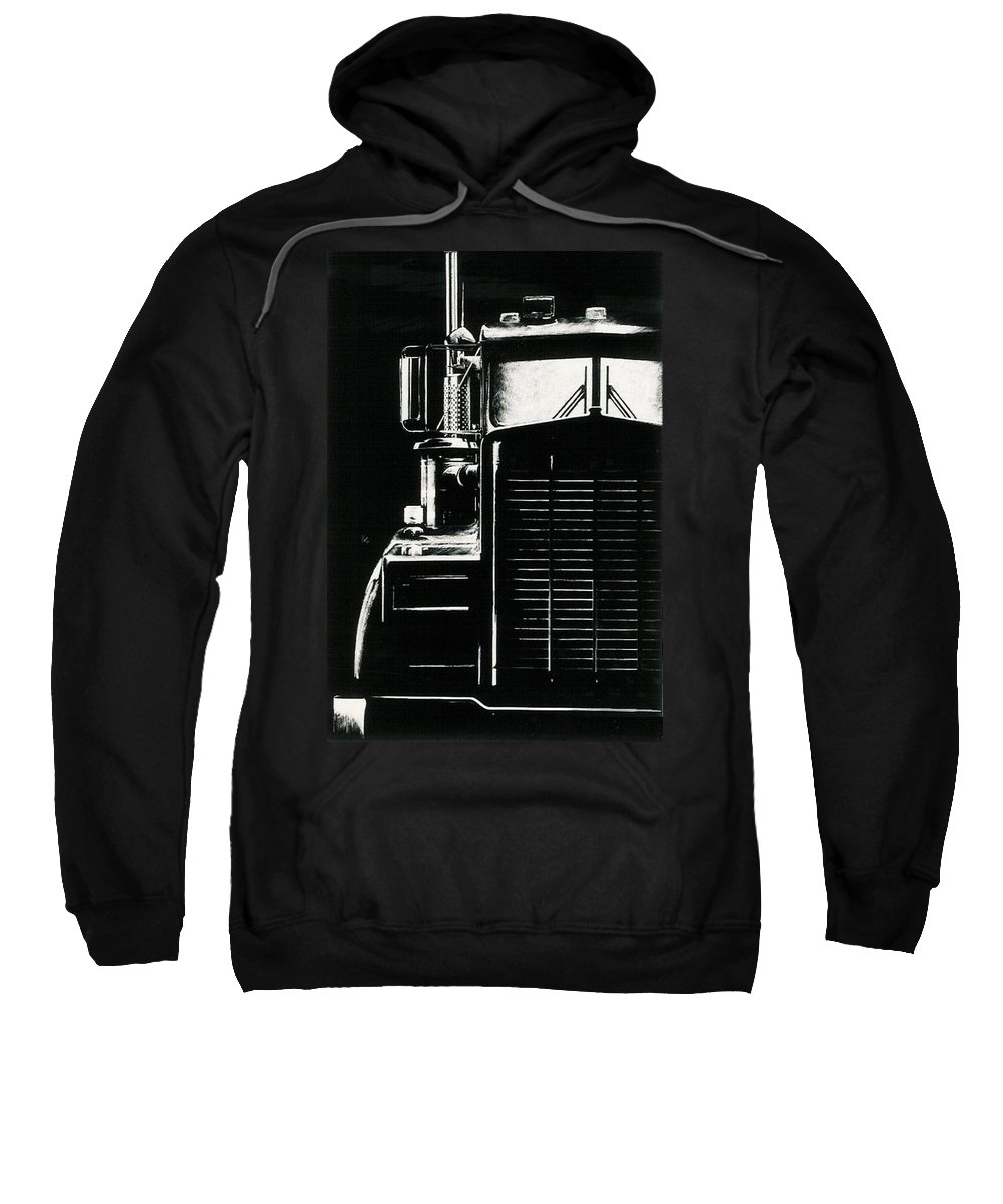 Vehicle Sweatshirt featuring the drawing Semi by Barbara Keith