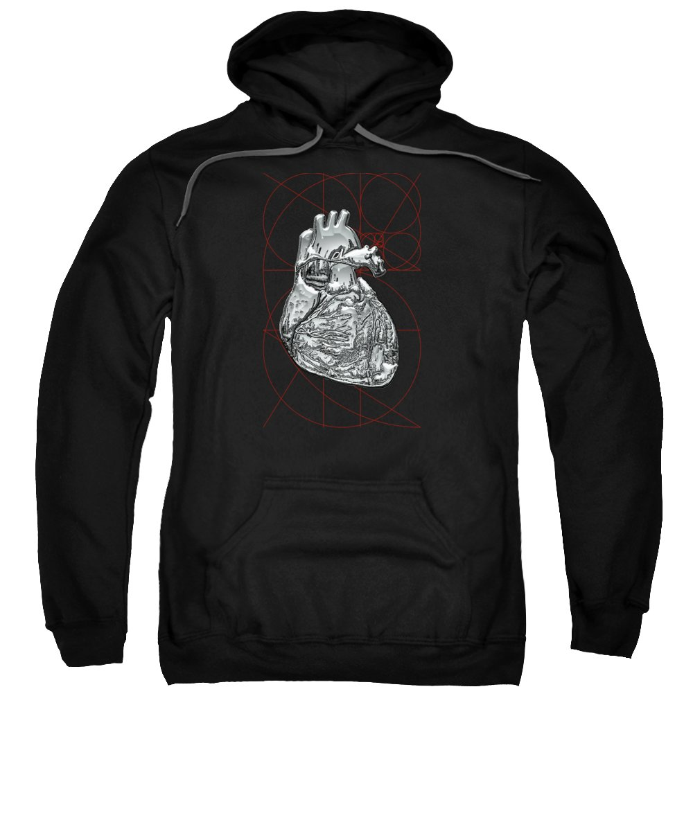 �inner Workings� Collection By Serge Averbukh Sweatshirt featuring the photograph Silver Human Heart On Black Canvas by Serge Averbukh