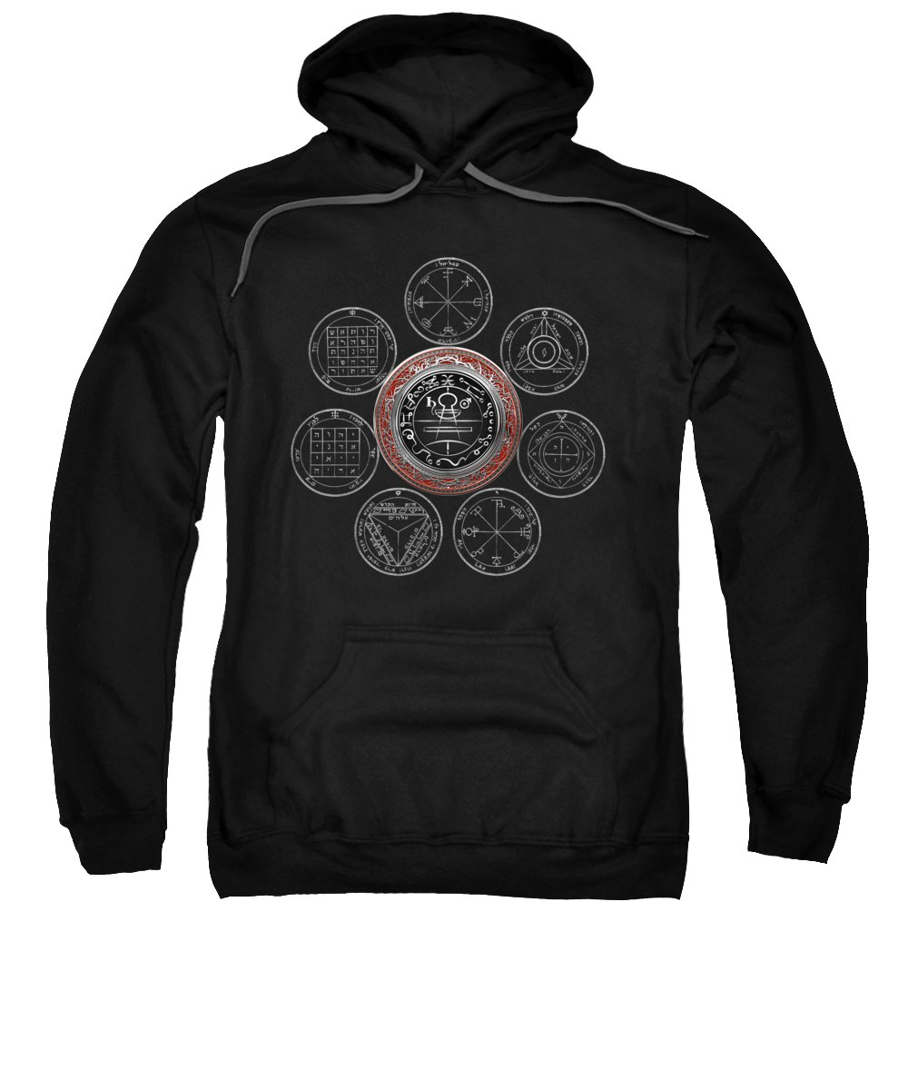 'sacred Symbols' Collection By Serge Averbukh Sweatshirt featuring the photograph Silver Seal Of Solomon Over Seven Pentacles Of Saturn On Black Canvas by Serge Averbukh