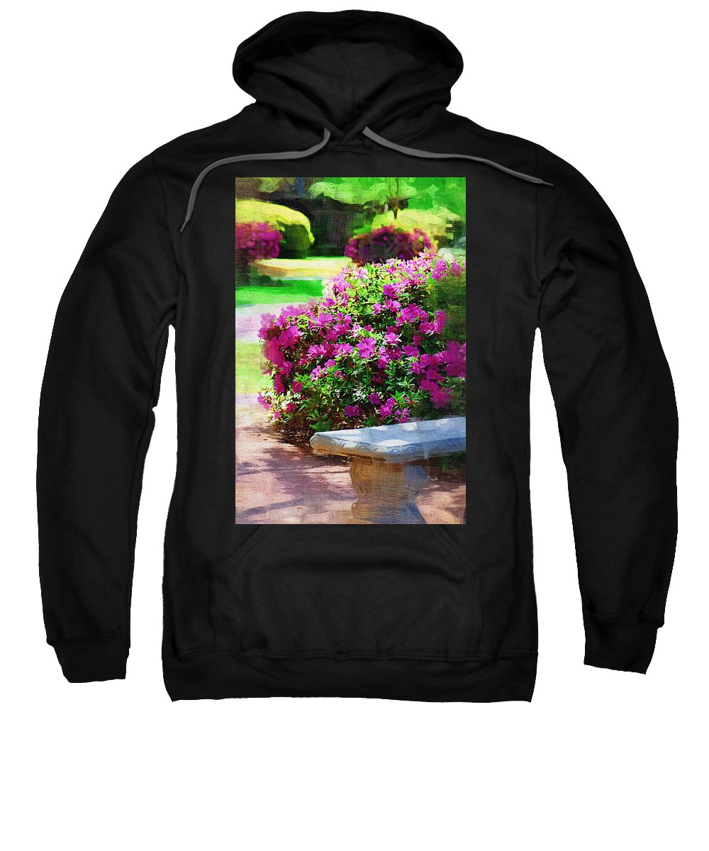 Landscape Sweatshirt featuring the photograph Sit A Spell by Donna Bentley