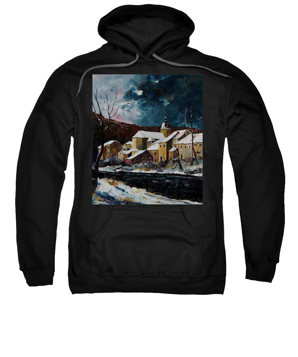 Winter Sweatshirt featuring the painting Snow In Chassepierre by Pol Ledent