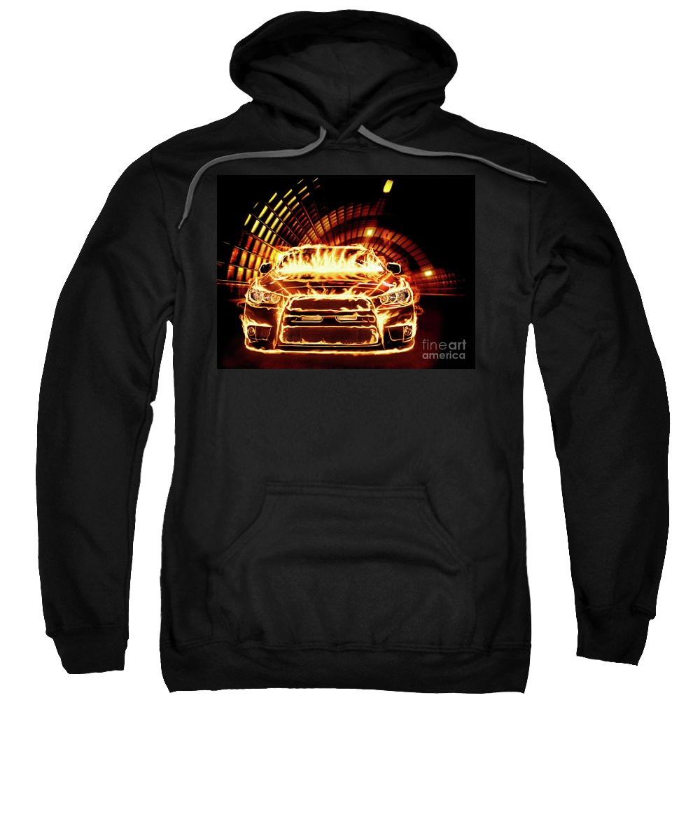 Car Sweatshirt featuring the photograph Sports Car In Flames by Oleksiy Maksymenko
