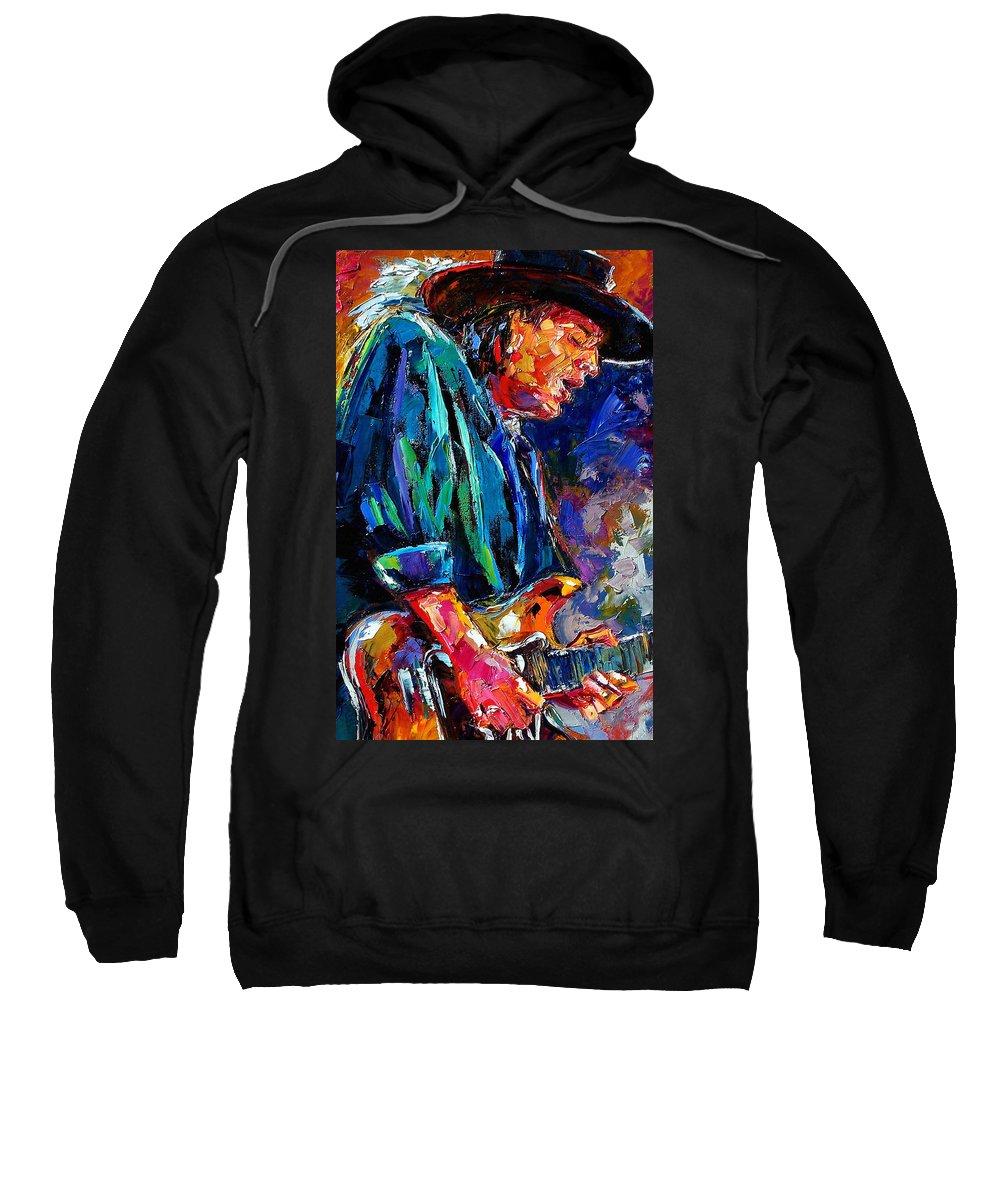 Stevie Ray Vaughan Sweatshirt featuring the painting Stevie Ray Vaughan by Debra Hurd