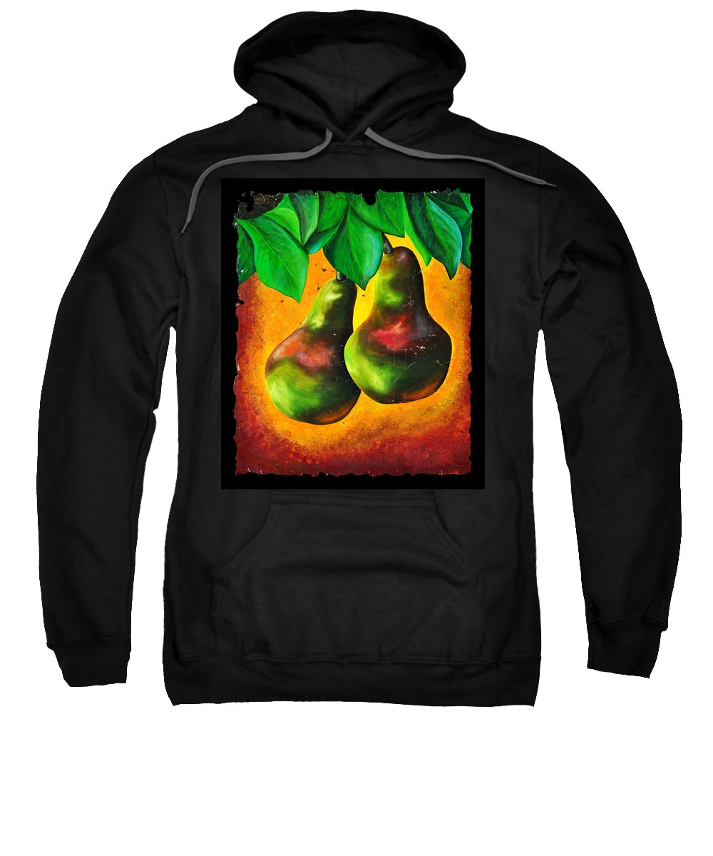 Study Of Two Pears Sweatshirt featuring the painting Study Of Two Pears by OLena Art Brand