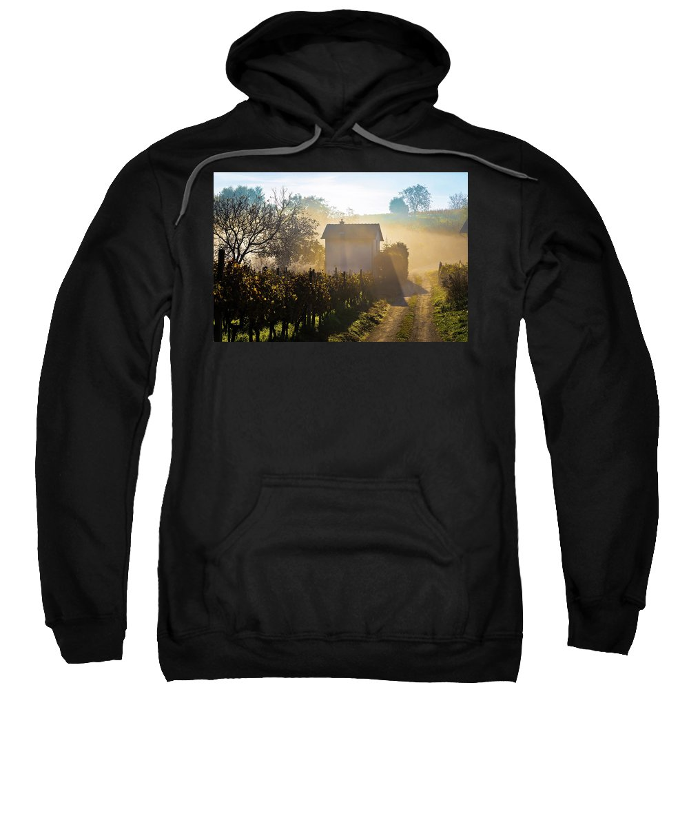 Sun Sweatshirt featuring the photograph Sun Rays In Morning Fog Vineyard View by Brch Photography