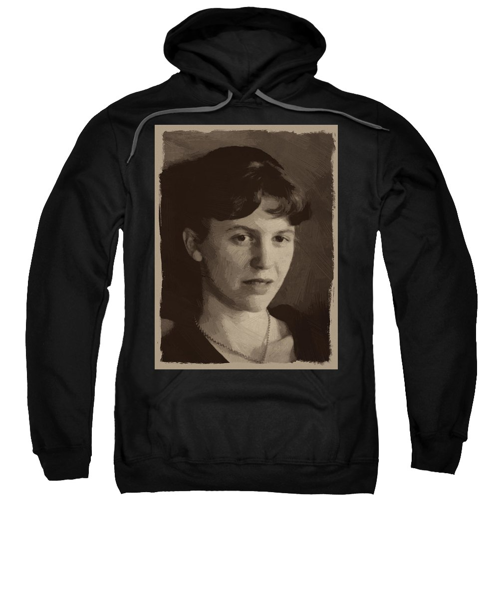 Sylvia Plath Sweatshirt featuring the painting Sylvia Plath by Afterdarkness