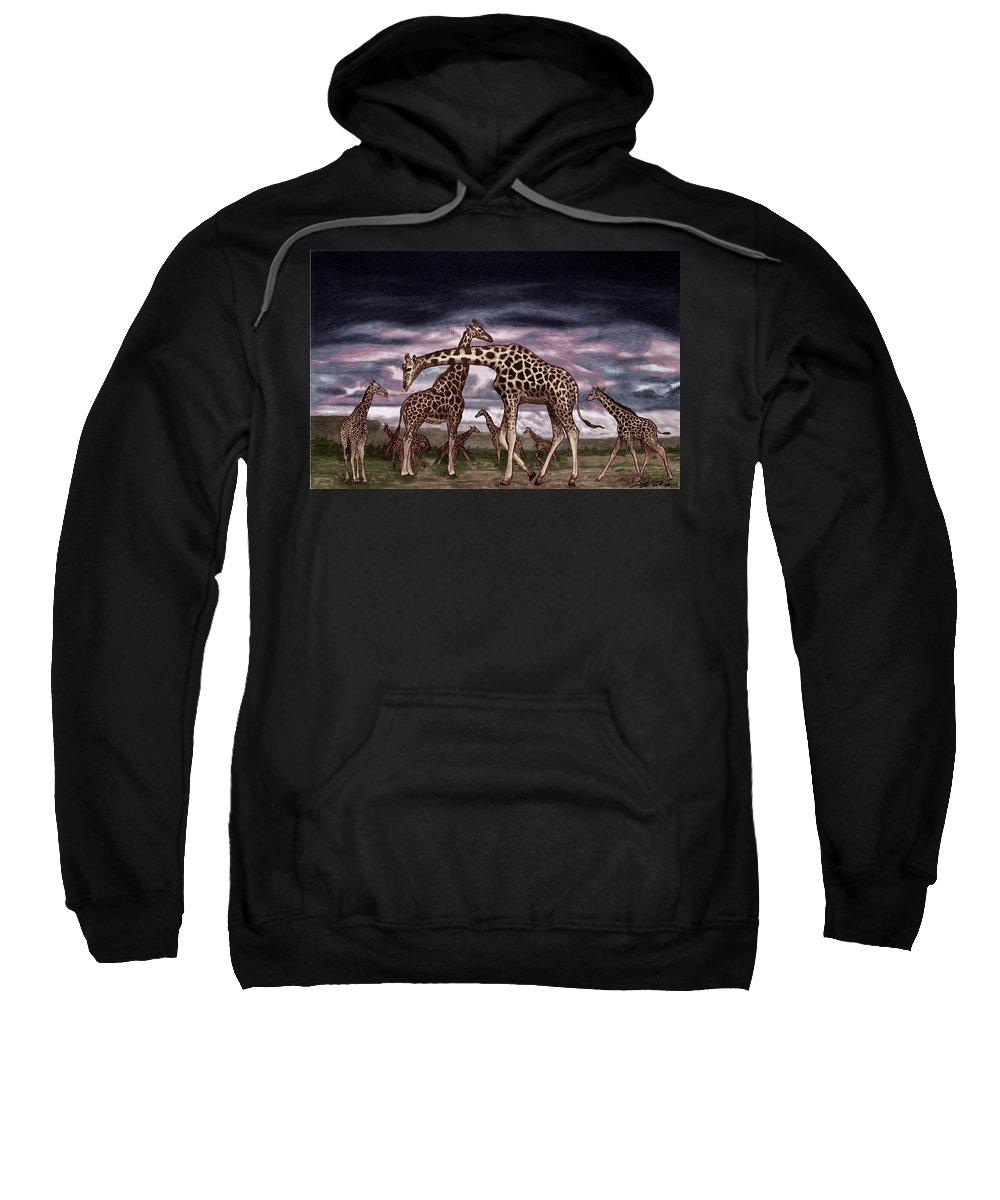 The Herd Sweatshirt featuring the drawing The Herd by Peter Piatt