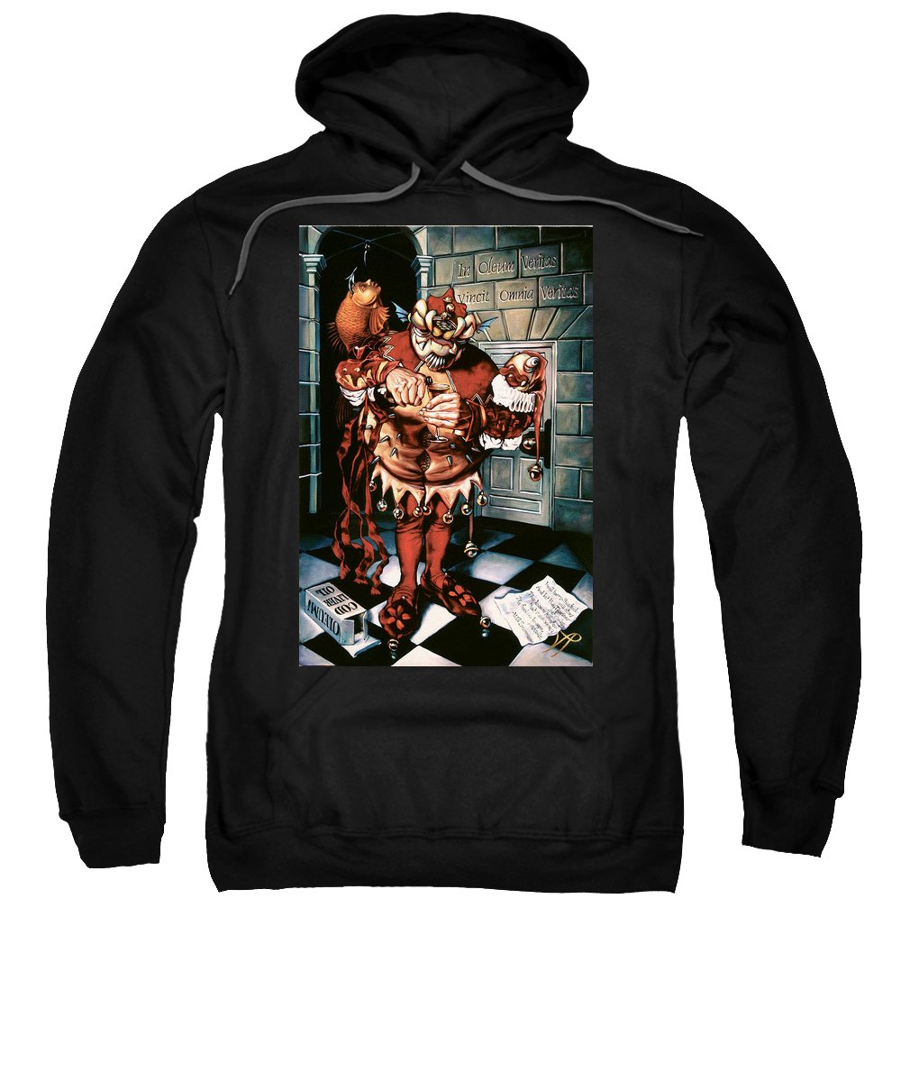Jester Sweatshirt featuring the painting The Jesterook by Patrick Anthony Pierson