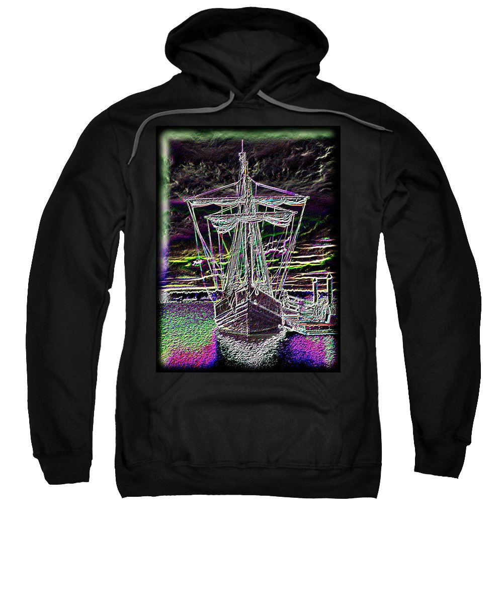 Wooden Boat Sweatshirt featuring the digital art The Nina by Tim Allen