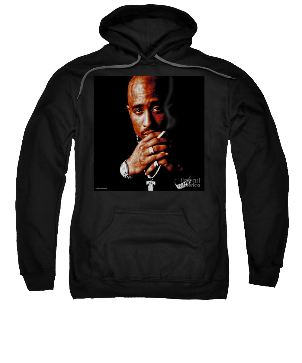 Tupak Sweatshirt featuring the mixed media Tupac by Blac Art