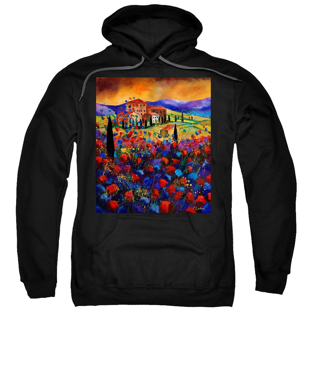 Flowers Sweatshirt featuring the painting Tuscany Poppies by Pol Ledent