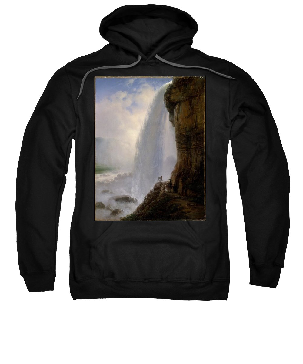 Underneath Niagara Falls Sweatshirt featuring the painting Underneath Niagara Falls by MotionAge Designs