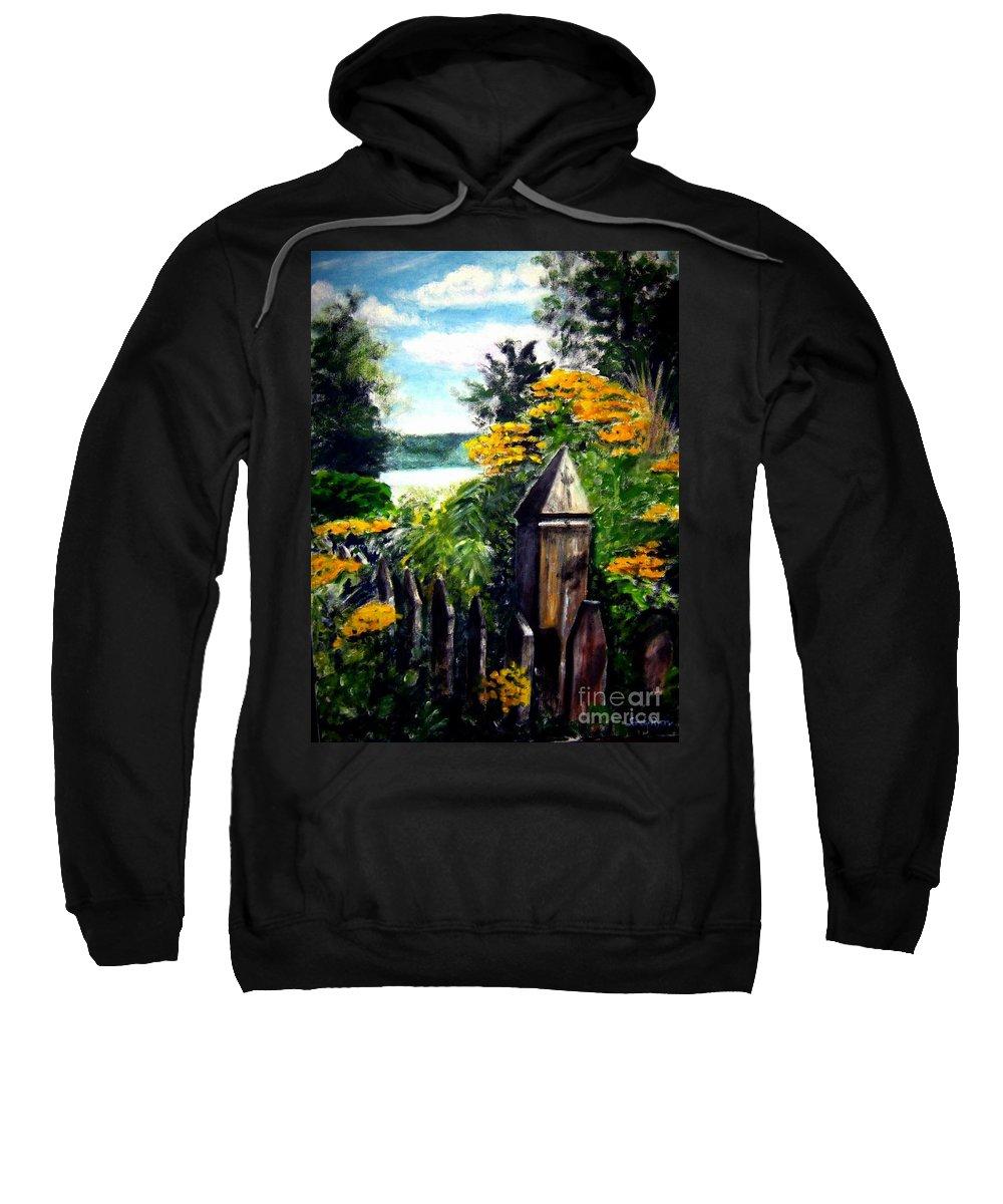 Upstate New York Sweatshirt featuring the painting Upstate Winery by Sandy Ryan