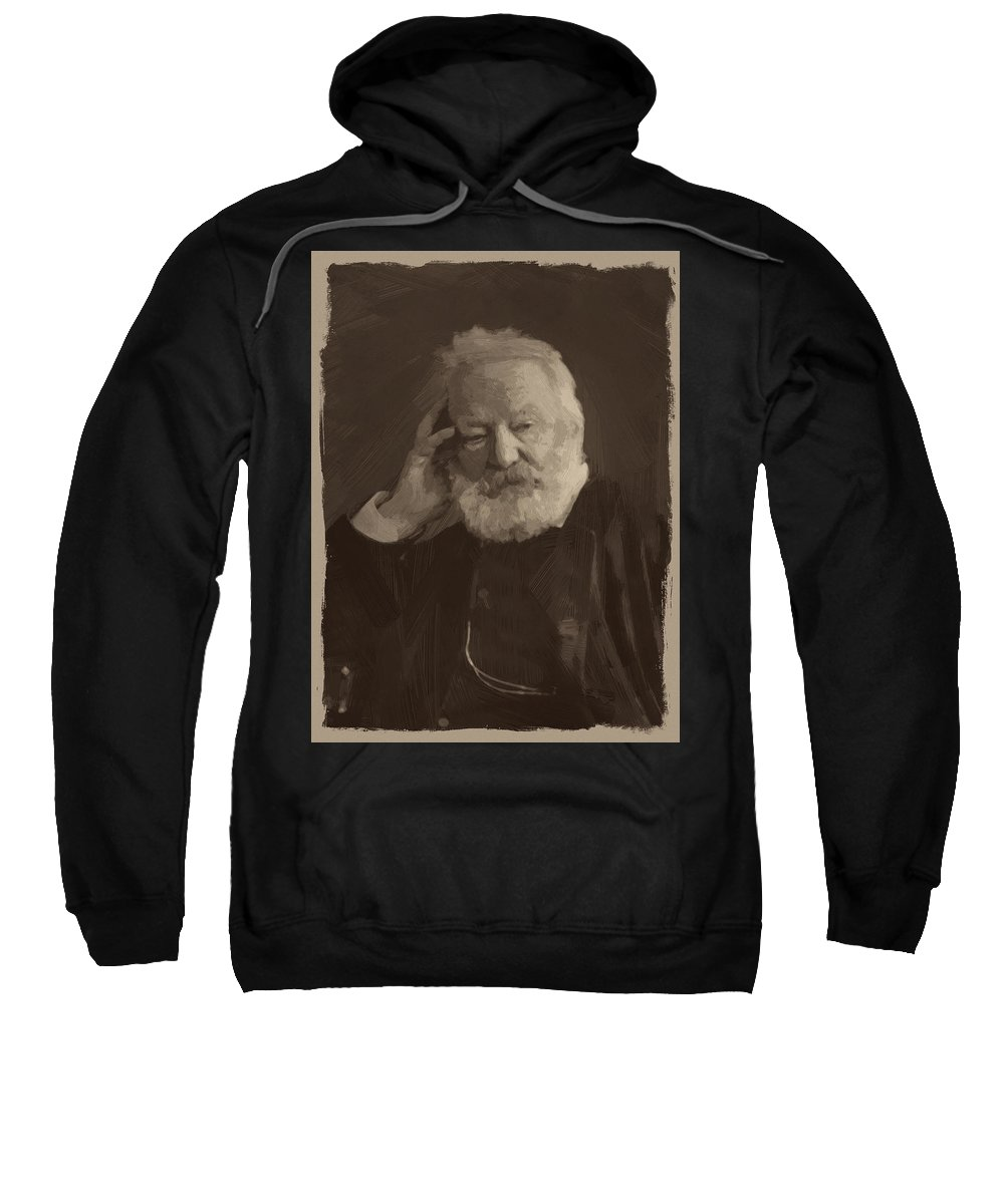 Victor Hugo Sweatshirt featuring the painting Victor Hugo by Afterdarkness