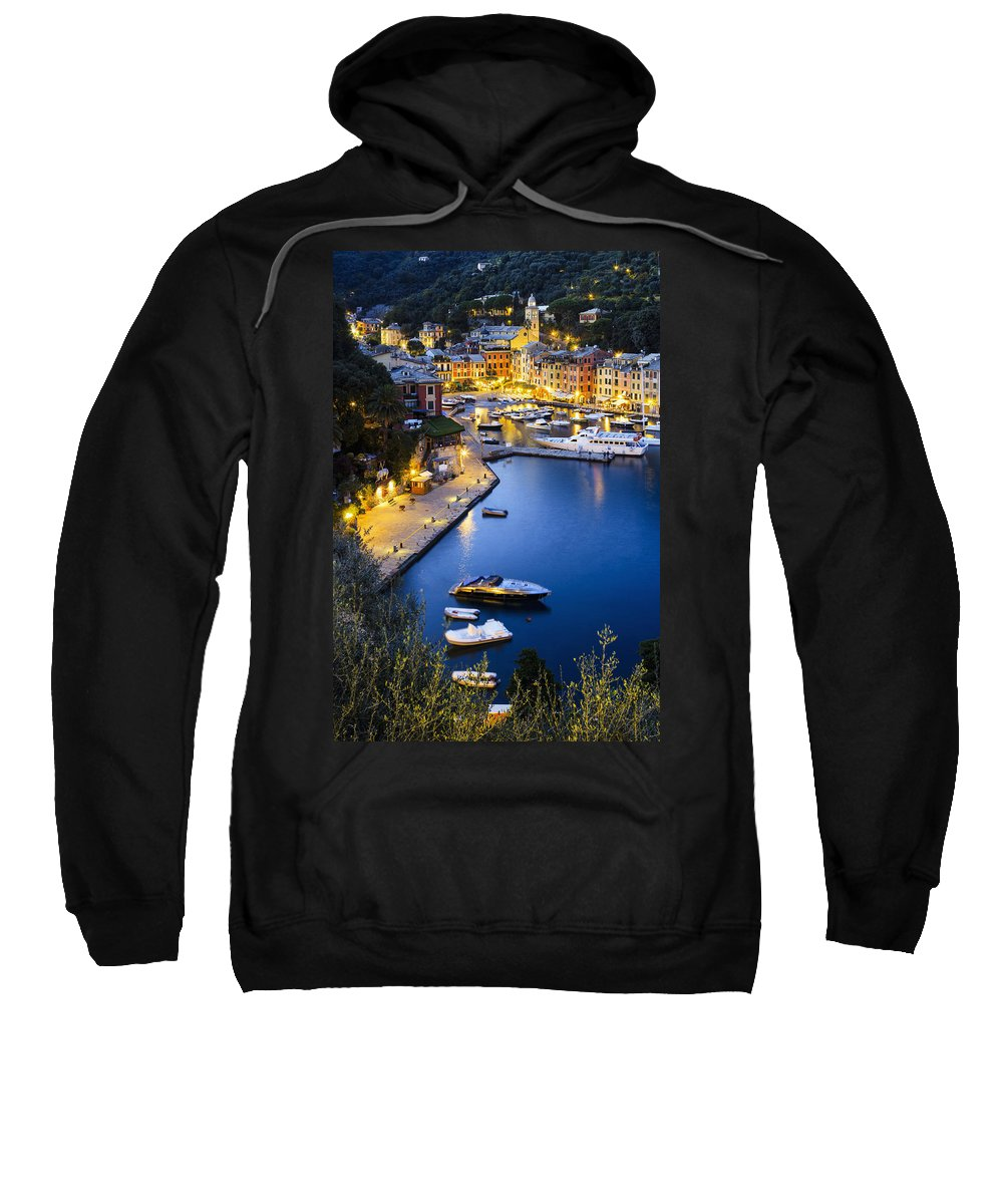 Building Sweatshirt featuring the photograph View Of The Harbour At Dusk Portofino by Yves Marcoux