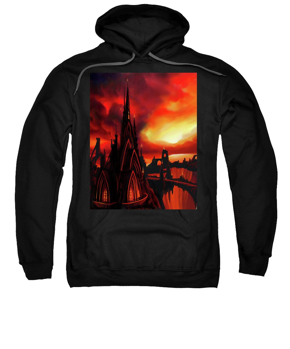 Castle Sweatshirt featuring the painting Volcano Castle by James Christopher Hill