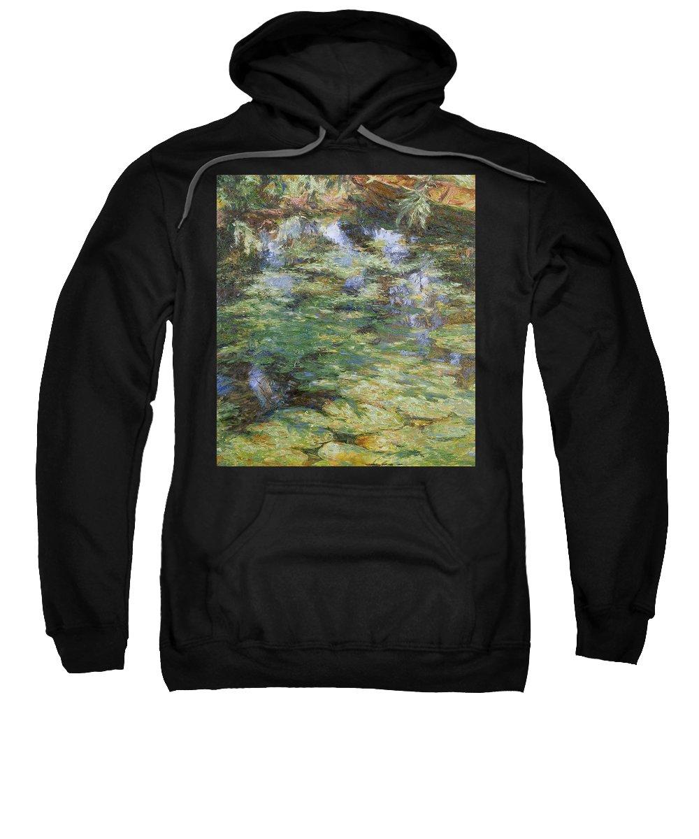 Bay Sweatshirt featuring the painting Water-lilies by Robert Nizamov