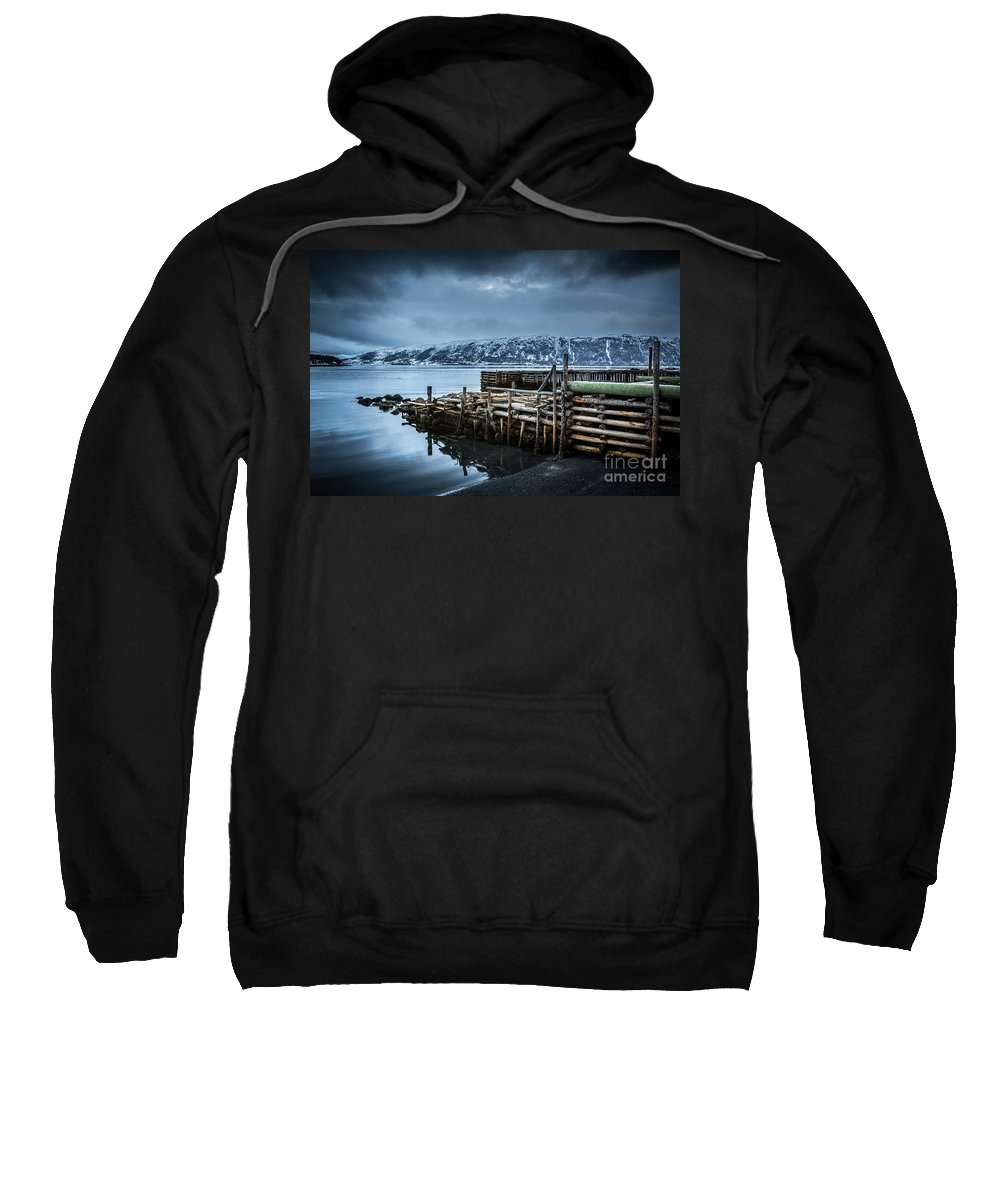 Boathouse Sweatshirt featuring the photograph Wharf In Norris Point, Newfoundland by Mike Organ