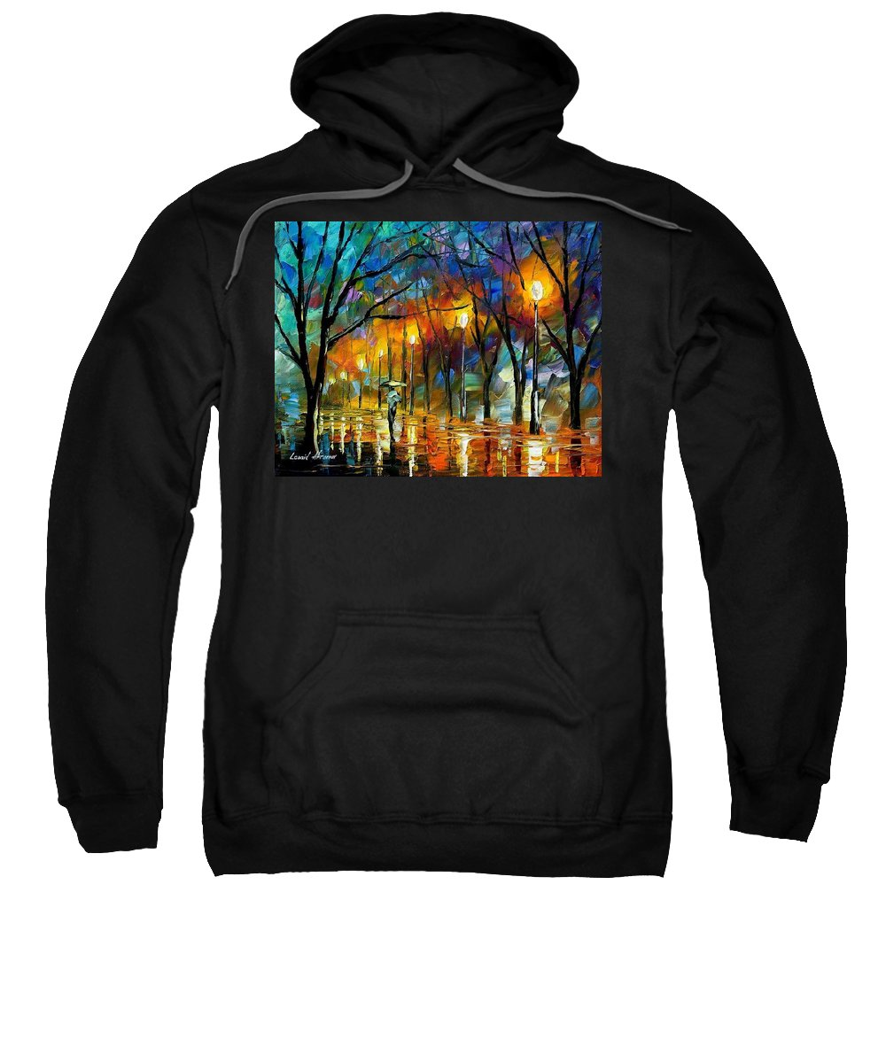 Landscape Sweatshirt featuring the painting Winter by Leonid Afremov