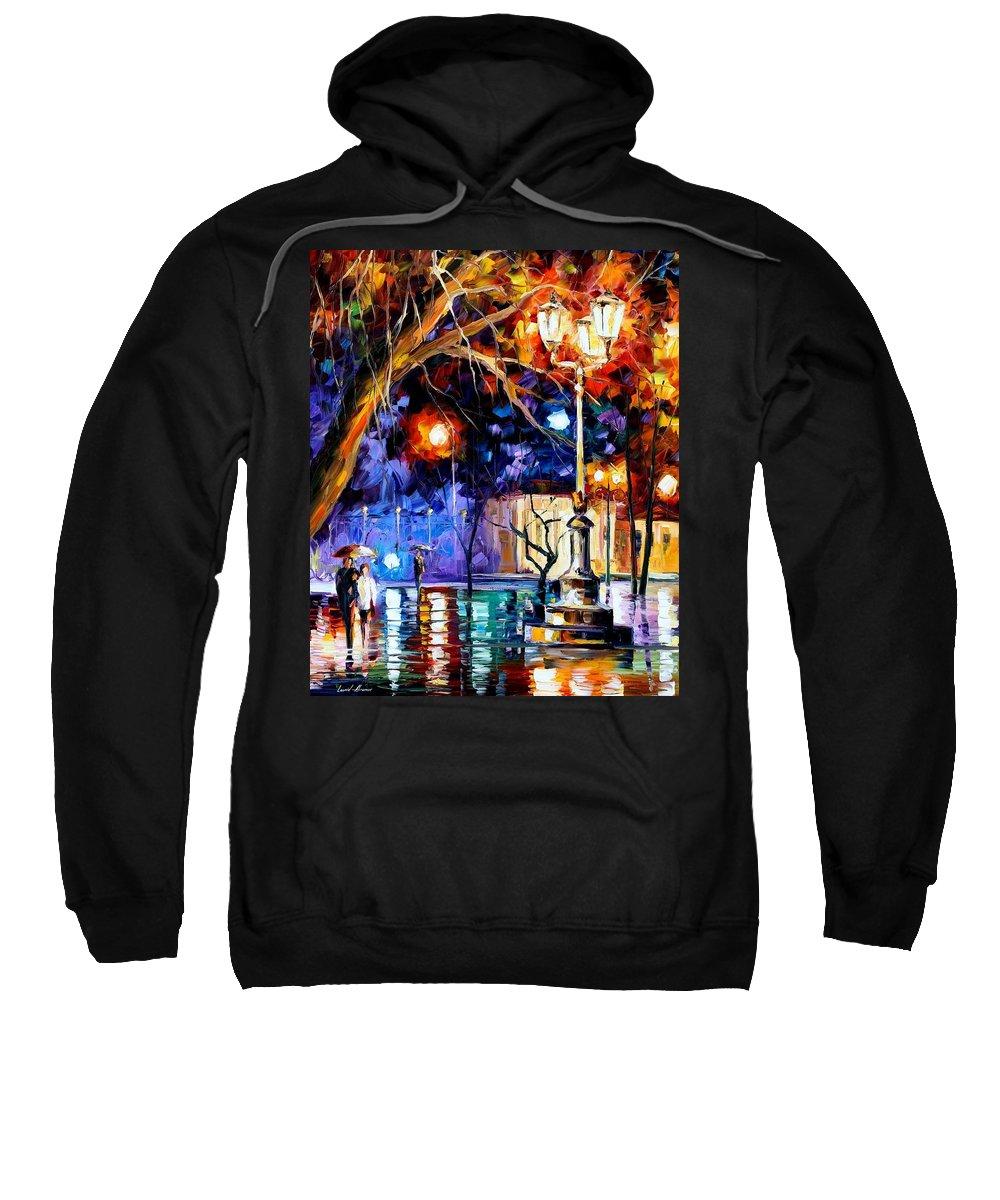 Afremov Sweatshirt featuring the painting Winter Rain by Leonid Afremov